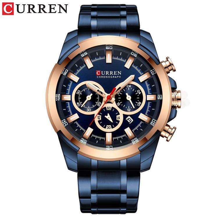 Relógio Masculino Curren 8361 BE Pulseira em Aço Inoxidável Â- Azul e Dourado