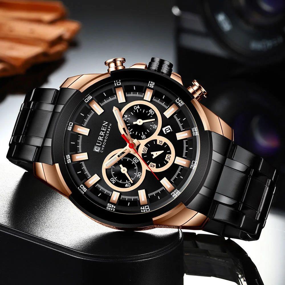 Relógio Masculino Curren 8361 BRG Pulseira em Aço Inoxidável Â- Preto e Dourado