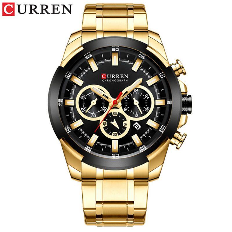 Relógio Masculino Curren 8361 GB Pulseira em Aço Inoxidável Â- Dourado e Preto
