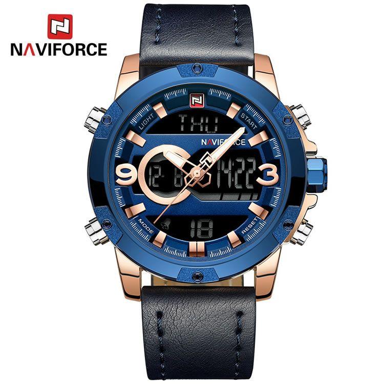 Relógio Masculino Naviforce NF9097 RGBE Pulseira em Couro Â- Azul e Dourado