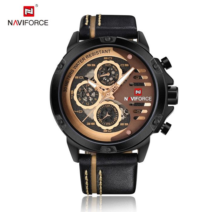 Relógio Masculino Naviforce NF9110 BRGBN Pulseira em Couro Â- Marrom e Dourado