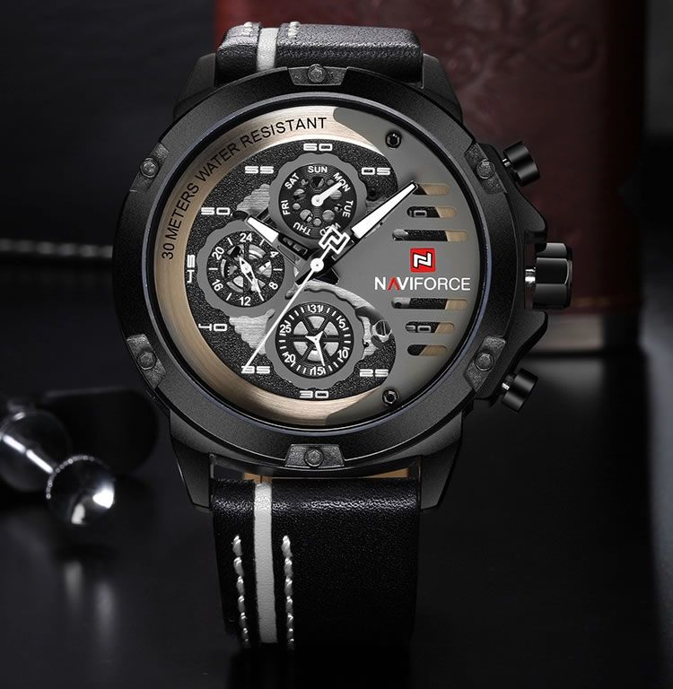 Relógio Masculino Naviforce NF9110 BWB Pulseira em Couro Â- Preto e Branco