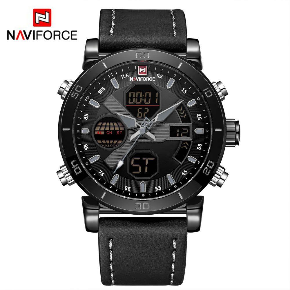 Relógio Masculino Naviforce NF9132 BGYB Pulseira em couro Â- Preto e Cinza