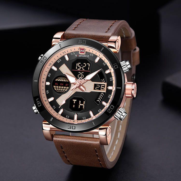 Relógio Masculino Naviforce NF9132 RGRGBN Pulseira em couro Â- Marrom e Dourado Rose