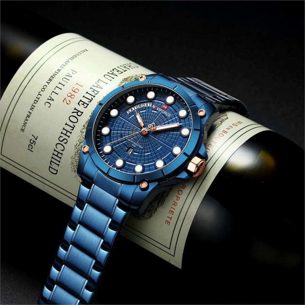 Relógio Masculino Naviforce NF9152 BEBE Pulseira em Aço Â- Azul