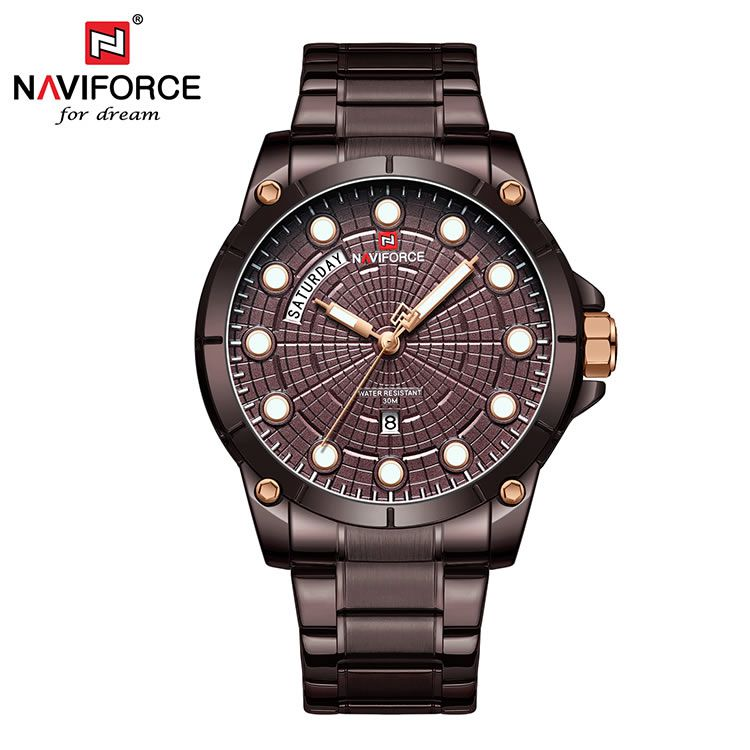 Relógio Masculino Naviforce NF9152 CECE Pulseira em Aço Â- Marsala