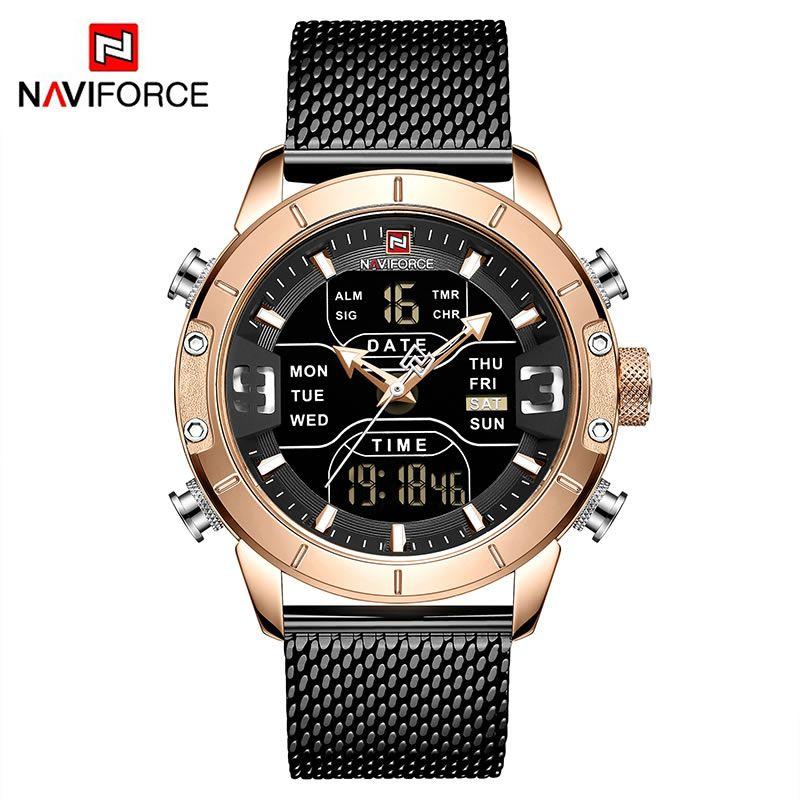 Relógio Masculino Naviforce NF9153 RGB Pulseira em Aço Inoxidável Â- Preto e Dourado Rose