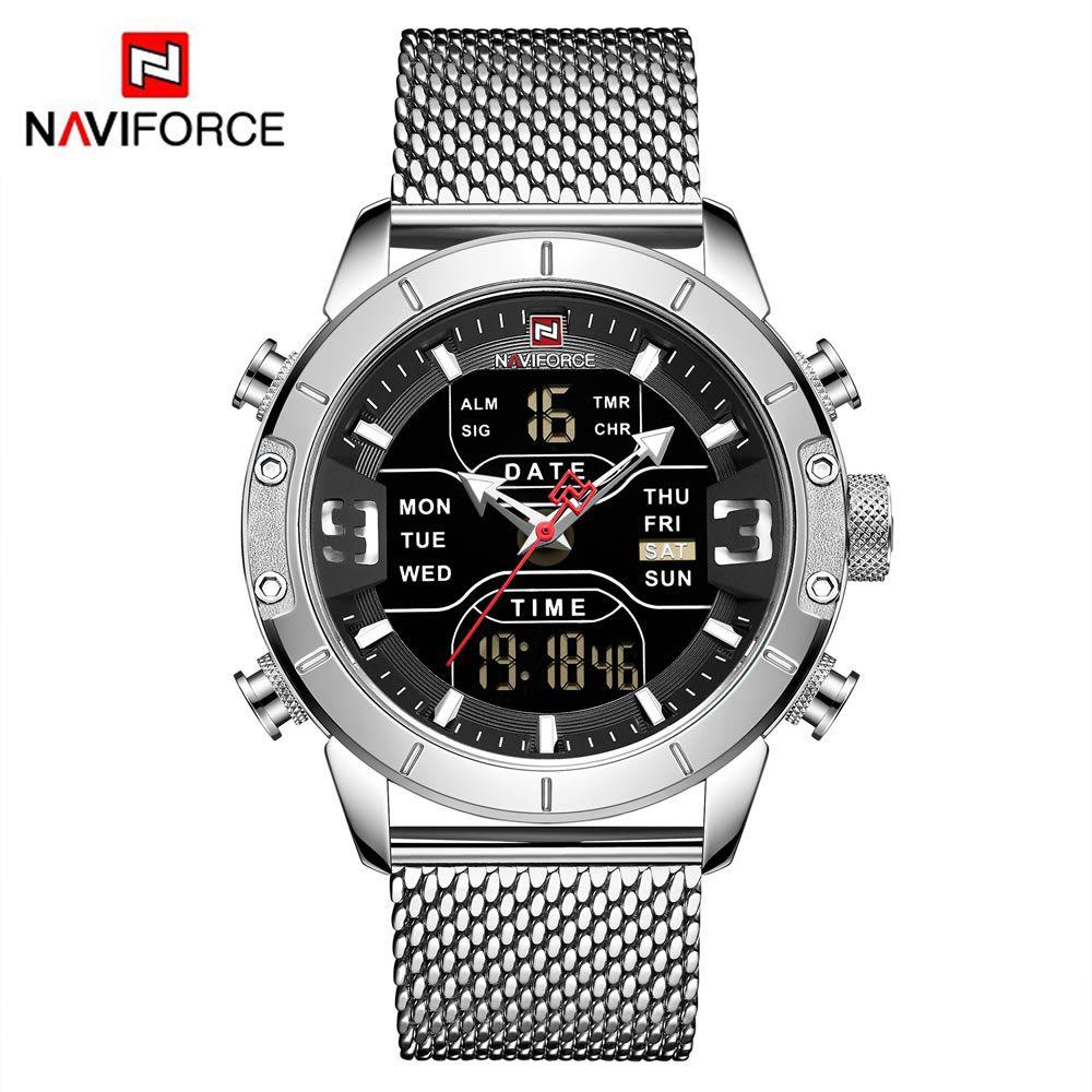 Relógio Masculino Naviforce NF9153 SB Pulseira em Aço Â- Inox