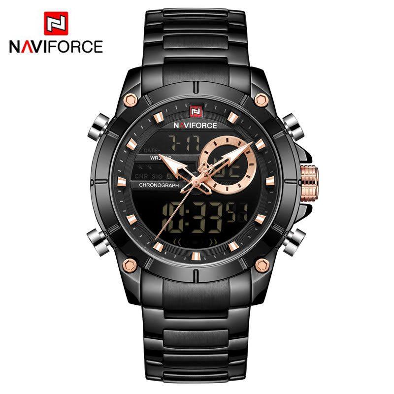 Relógio Masculino Naviforce NF9163 BB Pulseira em Aço Inoxidável Â- Preto