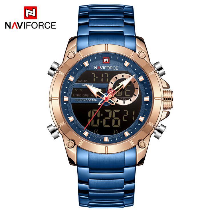 Relógio Masculino Naviforce NF9163 RGBE Pulseira em Aço Inoxidável Â- Azul e Dourado Rose