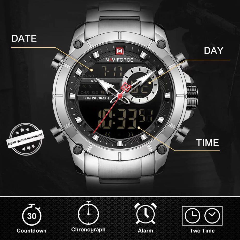 Relógio Masculino Naviforce NF9163 SB Pulseira em Aço Inoxidável - Inox e Preto
