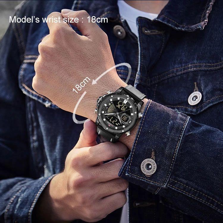 Relógio Masculino Naviforce NF9172 BGYB Pulseira em Couro Â- Preto e Cinza