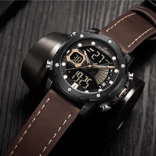 Relógio Masculino Naviforce NF9172 BYBN Pulseira em Couro Â- Marrom e Preto