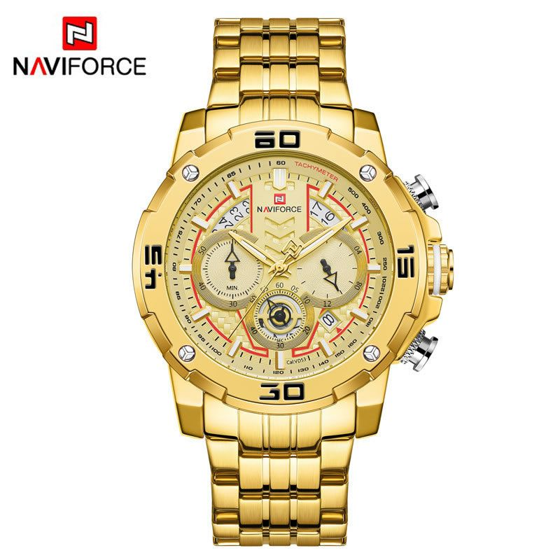 Relógio Masculino Naviforce NF9175 GG Pulseira em Aço Inoxidável Â- Preto e Dourado Rose