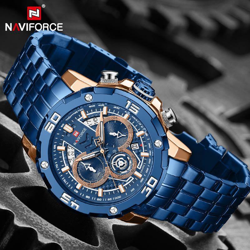 Relógio Masculino Naviforce NF9175 RGBE Pulseira em Aço Inoxidável Â- Azul e Dourado Rose