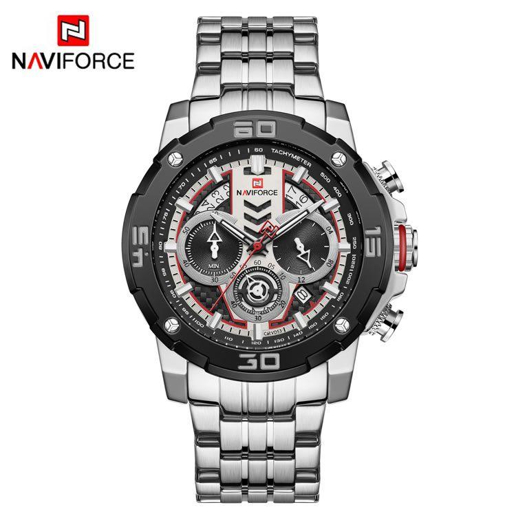 Relógio Masculino Naviforce NF9175 SW Pulseira em Aço Inoxidável Â- Preto e Inox