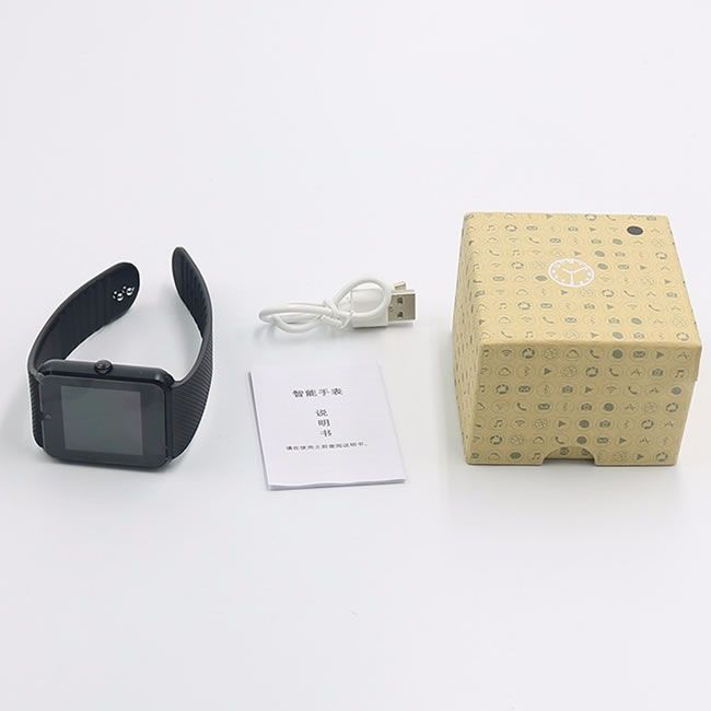 Relógio Inteligente Smartwatch Gt08 Bluetooth e Celular - Preto com Dourado Rosè