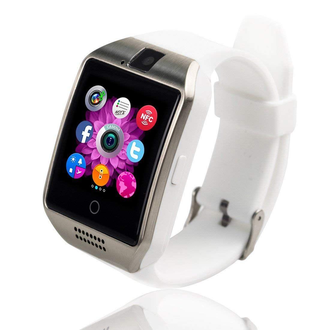 Relógio Inteligente Smartwatch Q18 Bluetooth Câmera Chip - Branco com Prata