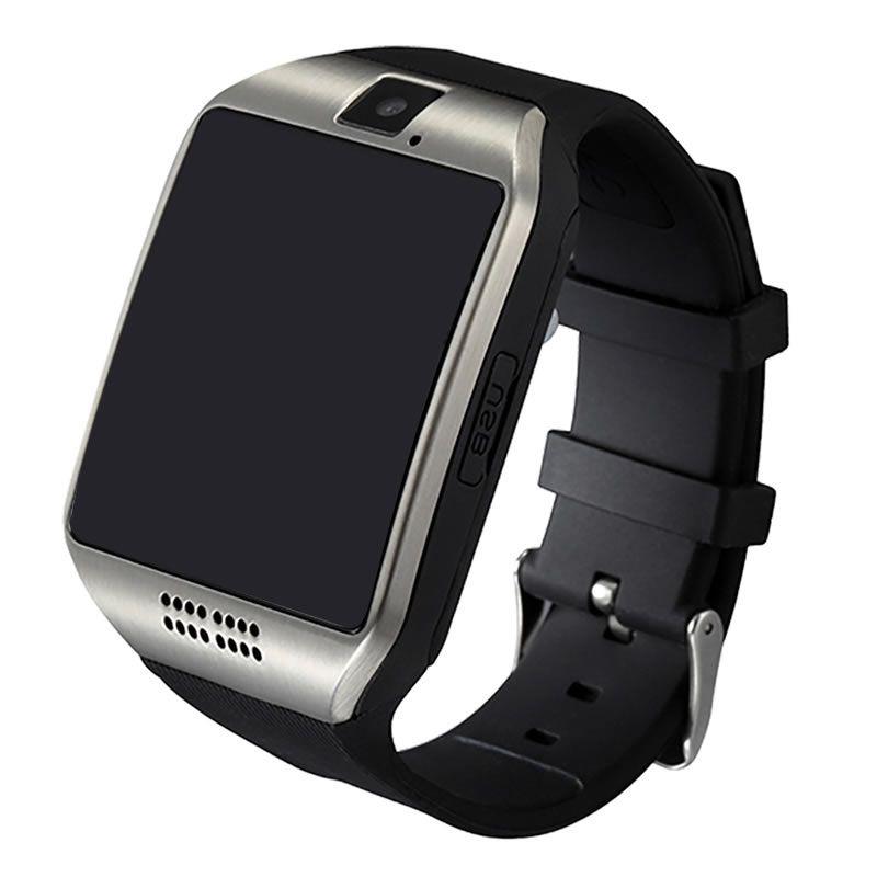 Relógio Inteligente Smartwatch Q18 Bluetooth Câmera Chip - Preto com Prata
