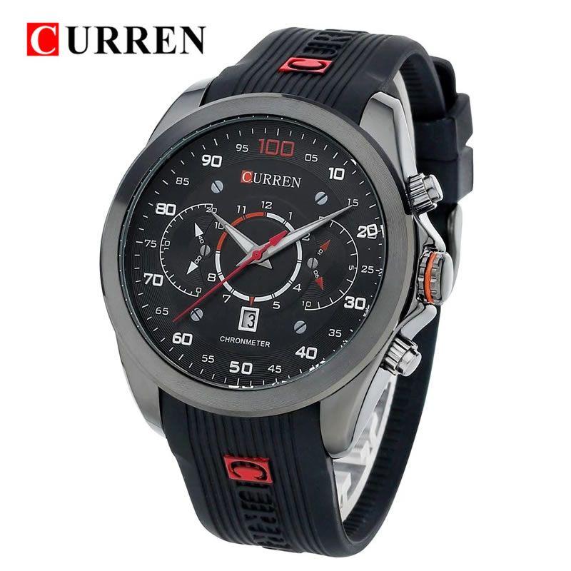 Relógio Masculino Curren 8166 BR Pulseira em Silicone – Preto