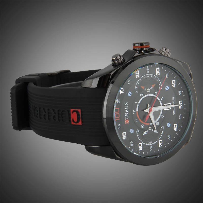 Relógio Masculino Curren 8166 BR Pulseira em Silicone Â- Preto