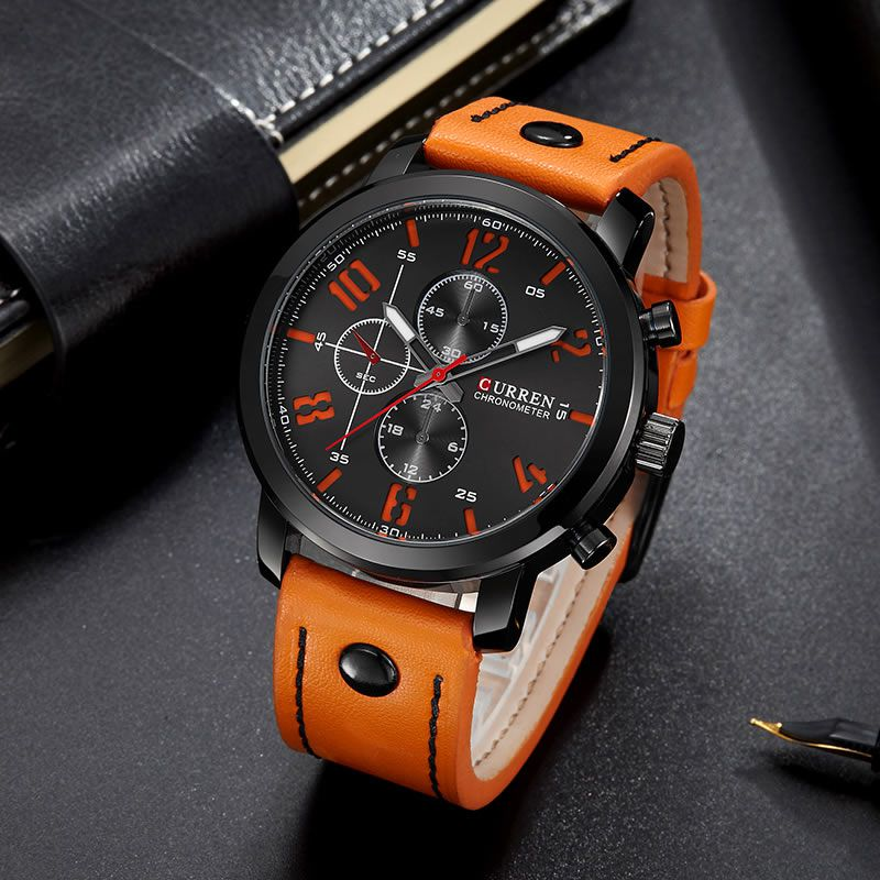 Relógio Masculino Curren 8192 BO Pulseira em Couro – Preto