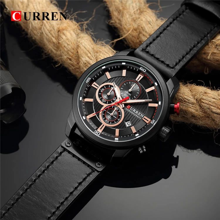 Relógio Masculino Curren 8291 BB Pulseira em Couro – Preto