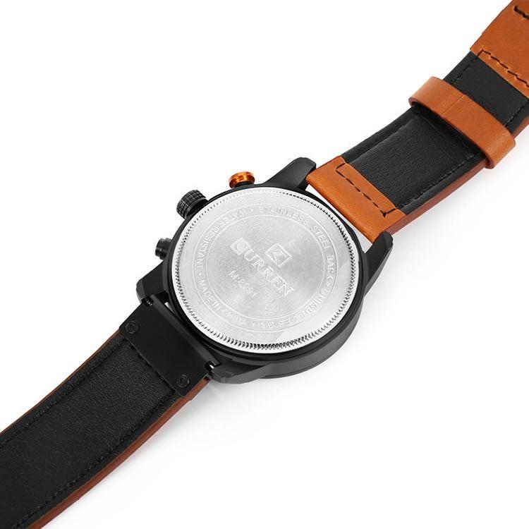 Relógio Masculino Curren 8291 BNG Pulseira em Couro – Marrom e Dourado