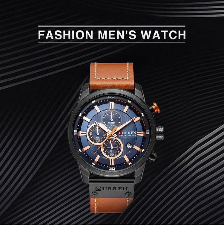 Relógio Masculino Curren 8291 SB Pulseira em Couro – Prateado e Preto