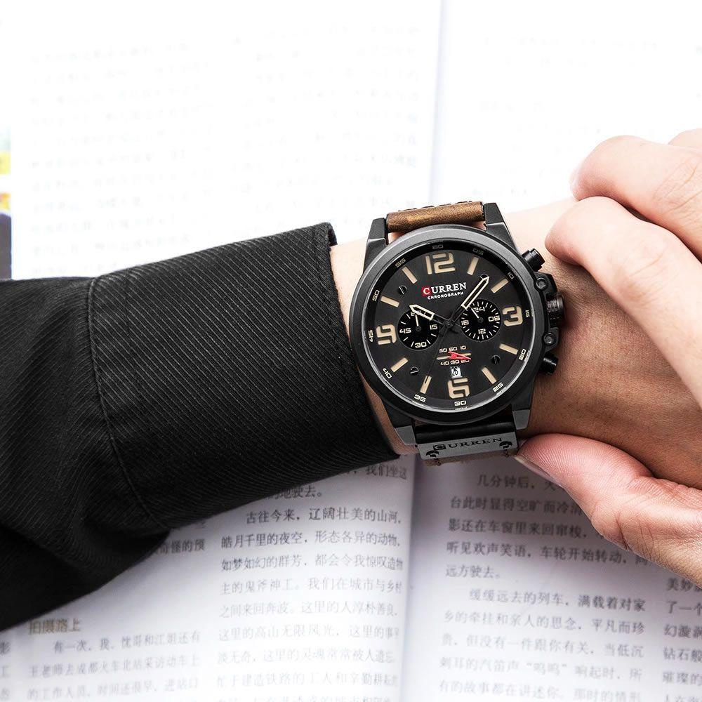 Relógio Masculino Curren 8314 BNY Pulseira em Couro – Marrom e Bege