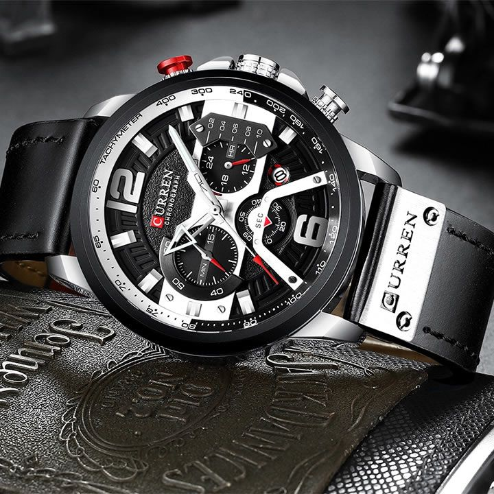 Relógio Masculino Curren 8329 BW Pulseira em couro – Preto