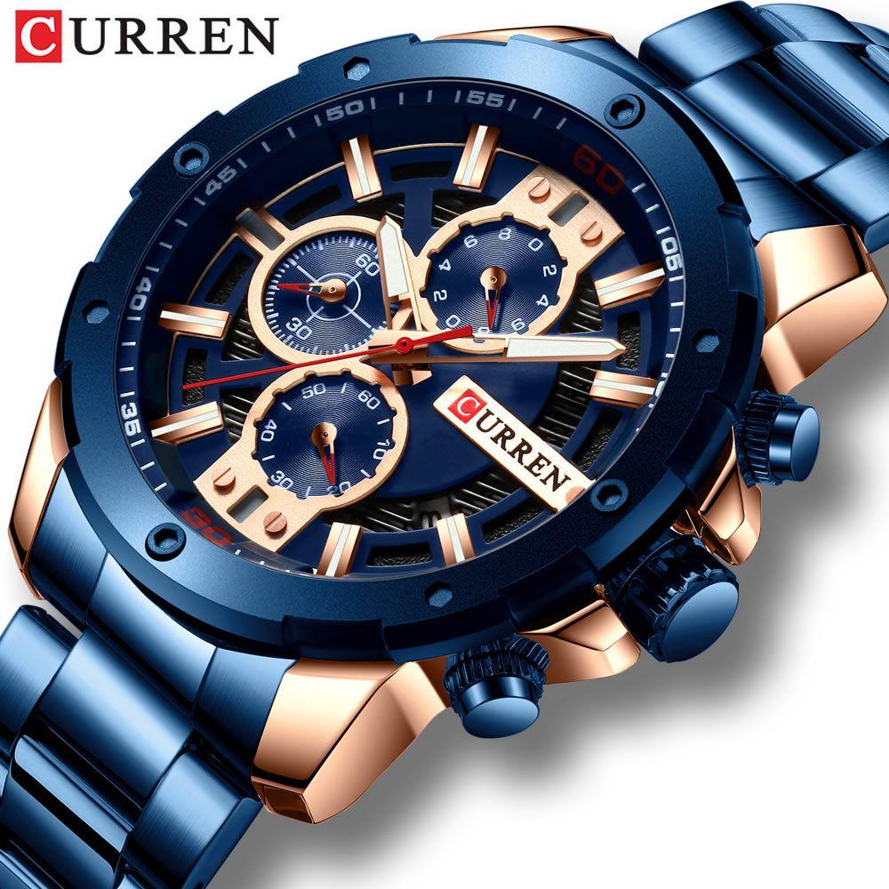 Relógio Masculino Curren 8336 BE Pulseira em Aço Inoxidável – Azul e Dourado