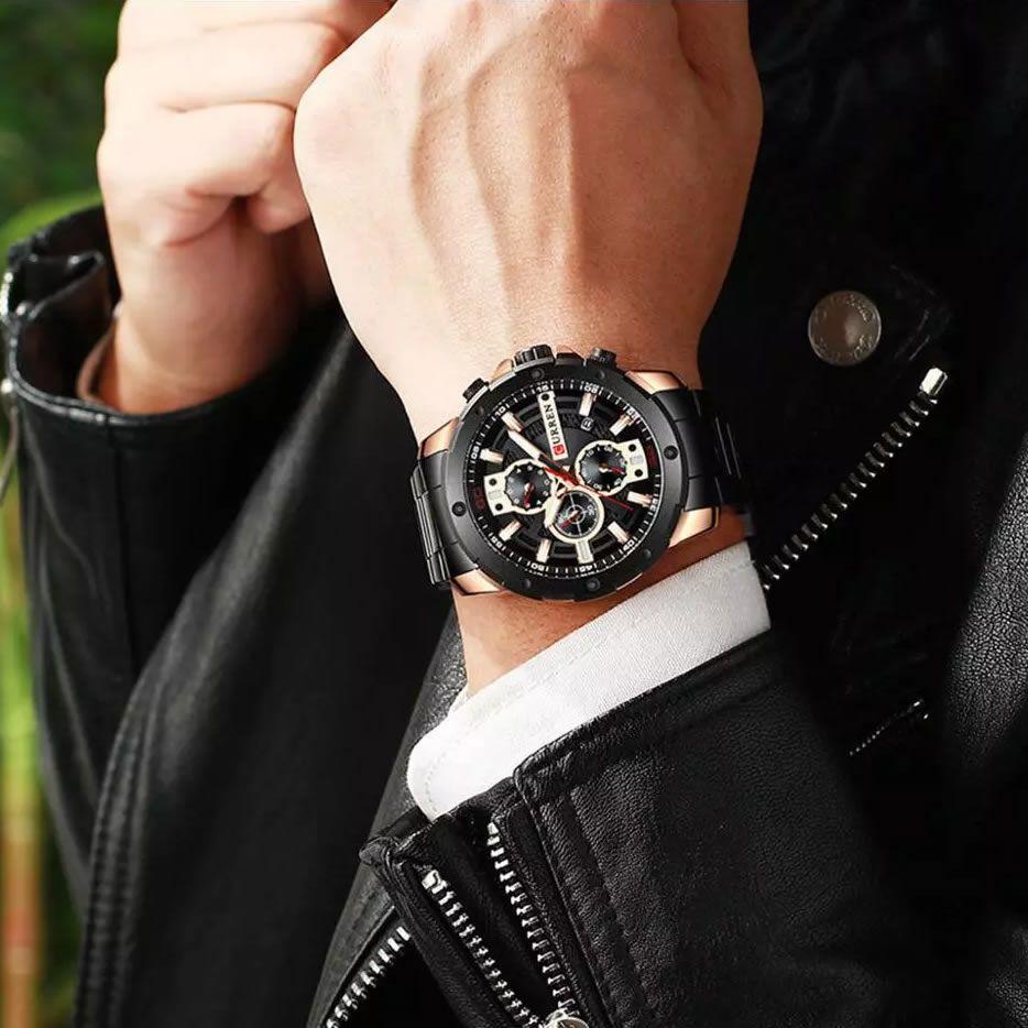 Relógio Masculino Curren 8336 BRG Pulseira em Aço Inoxidável – Preto e Dourado