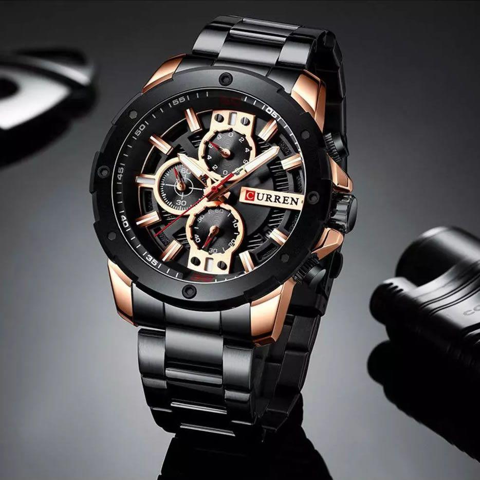 Relógio Masculino Curren 8336 BRG Pulseira em Aço Inoxidável Â- Preto e Dourado
