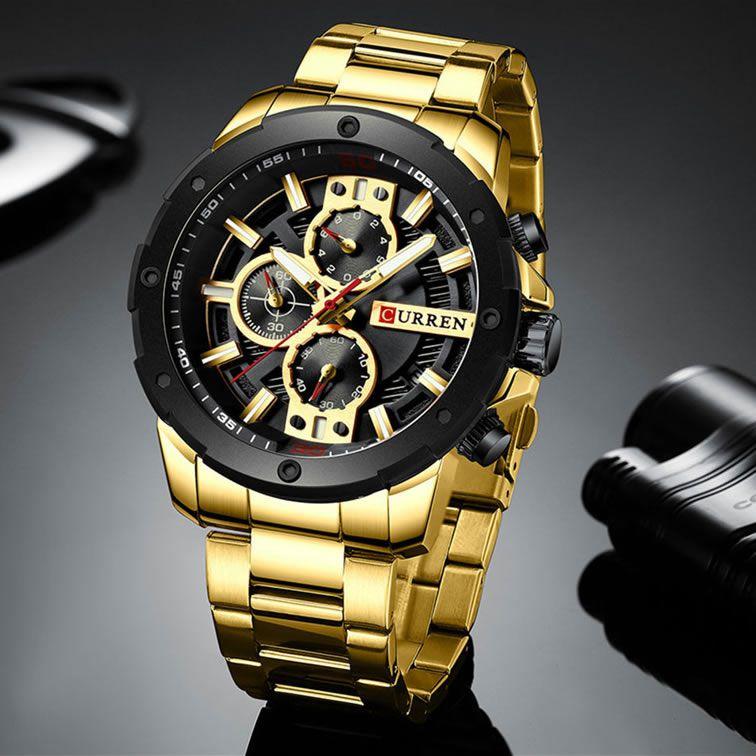 Relógio Masculino Curren 8336 GB Pulseira em Aço Inoxidável – Dourado e Preto