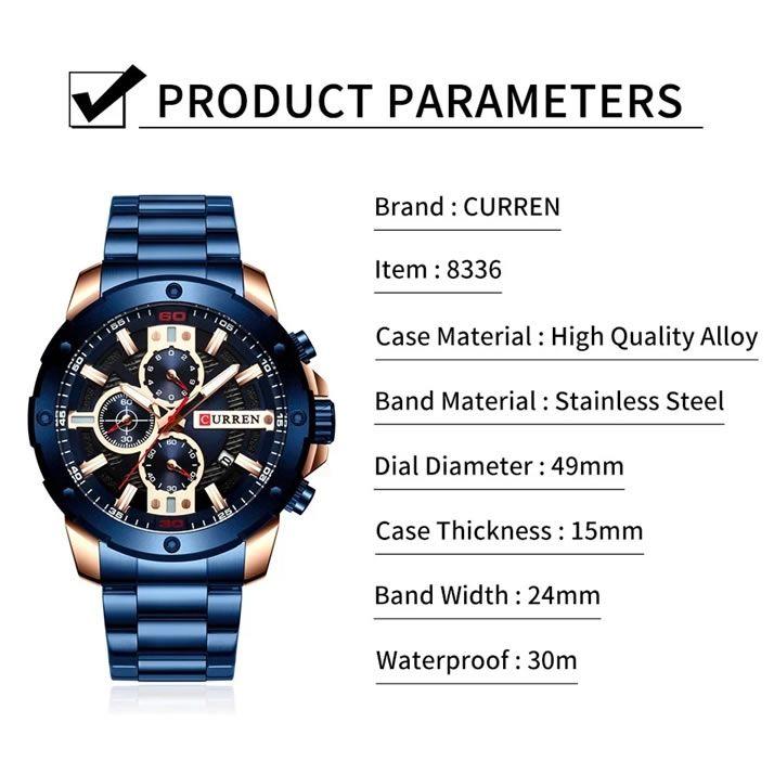 Relógio Masculino Curren 8336 GB Pulseira em Aço Inoxidável Â- Dourado e Preto