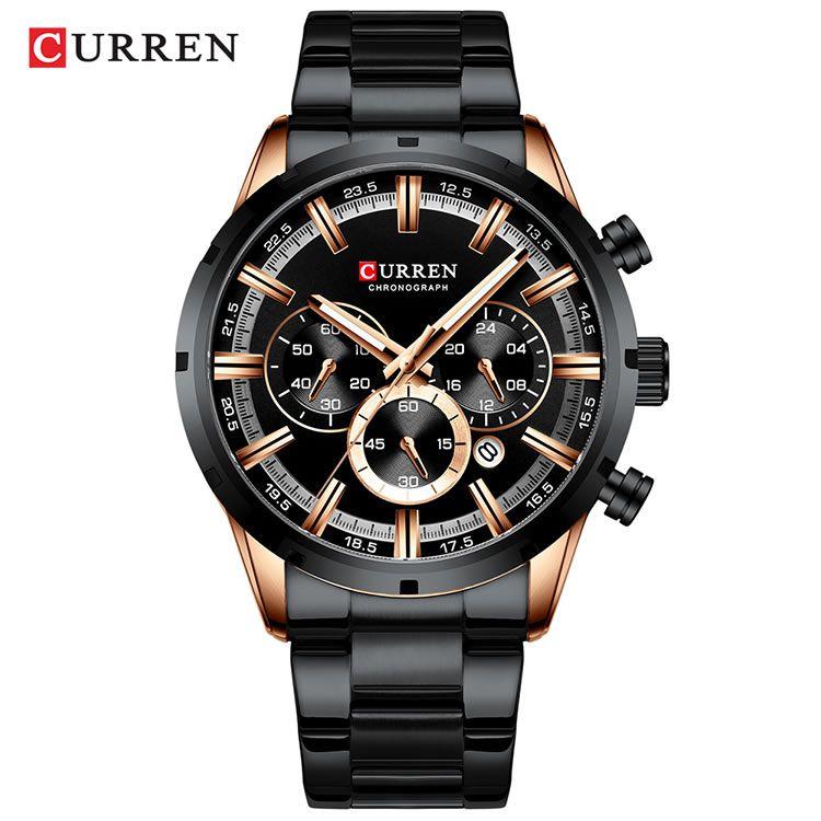 Relógio Masculino Curren 8355 BRG Pulseira em Aço Inoxidável – Preto e Dourado