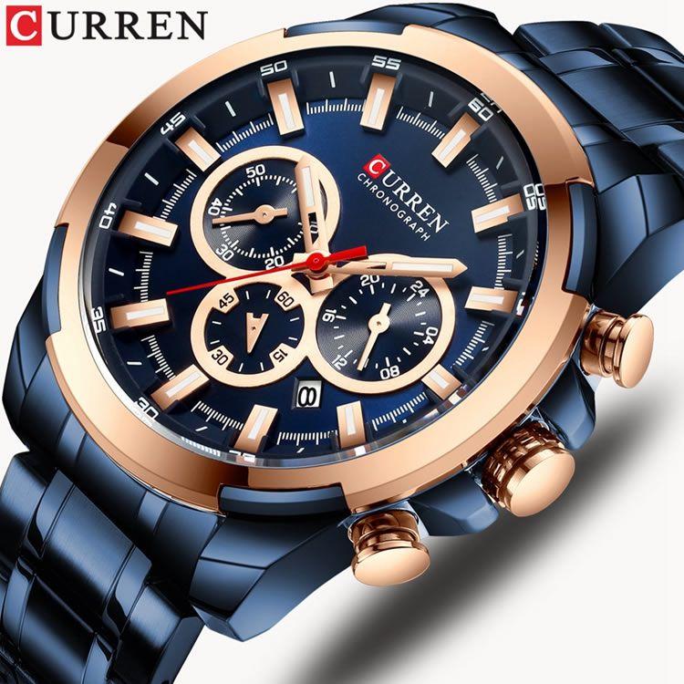 Relógio Masculino Curren 8361 BE Pulseira em Aço Inoxidável – Azul e Dourado