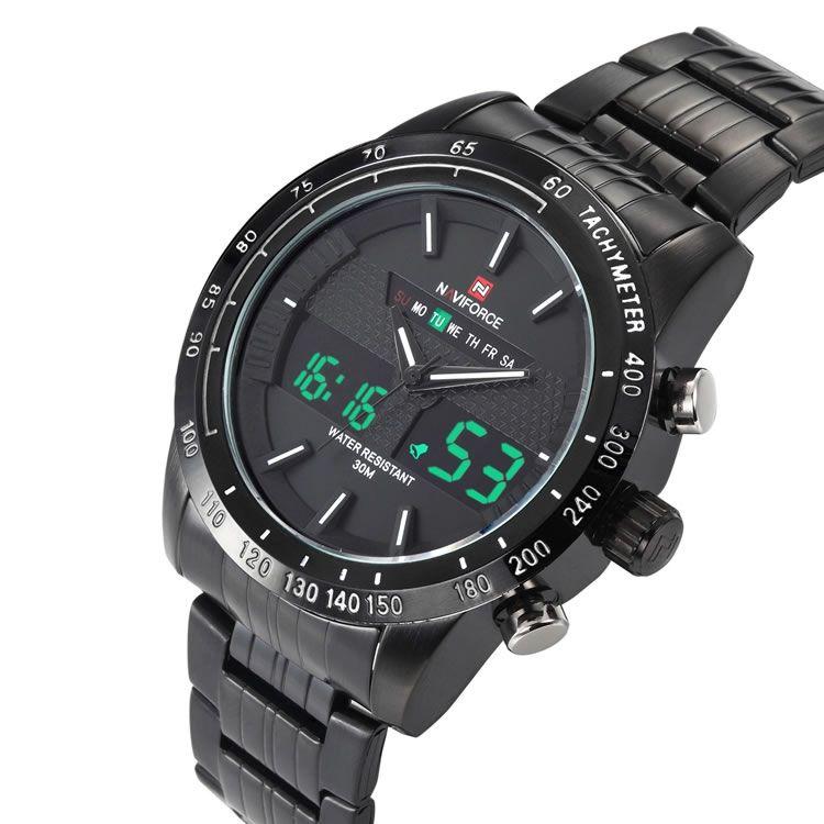 Relógio Masculino Naviforce 9024 BBW Aço Inox - Preto