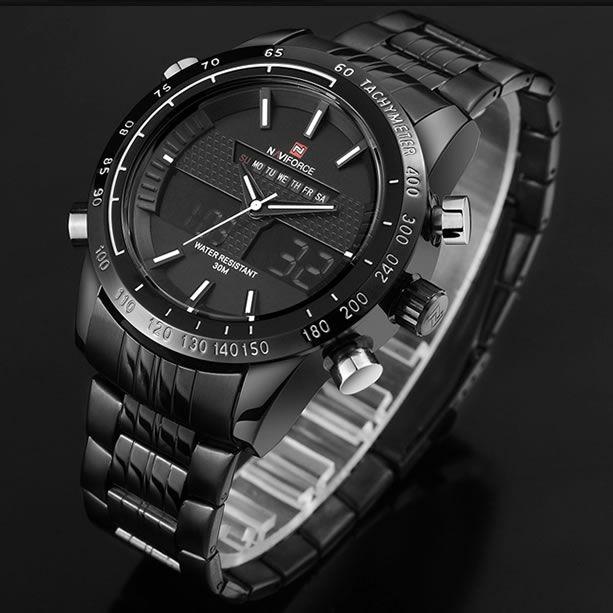 Relógio Masculino Naviforce 9024 Aço Inox - Preto