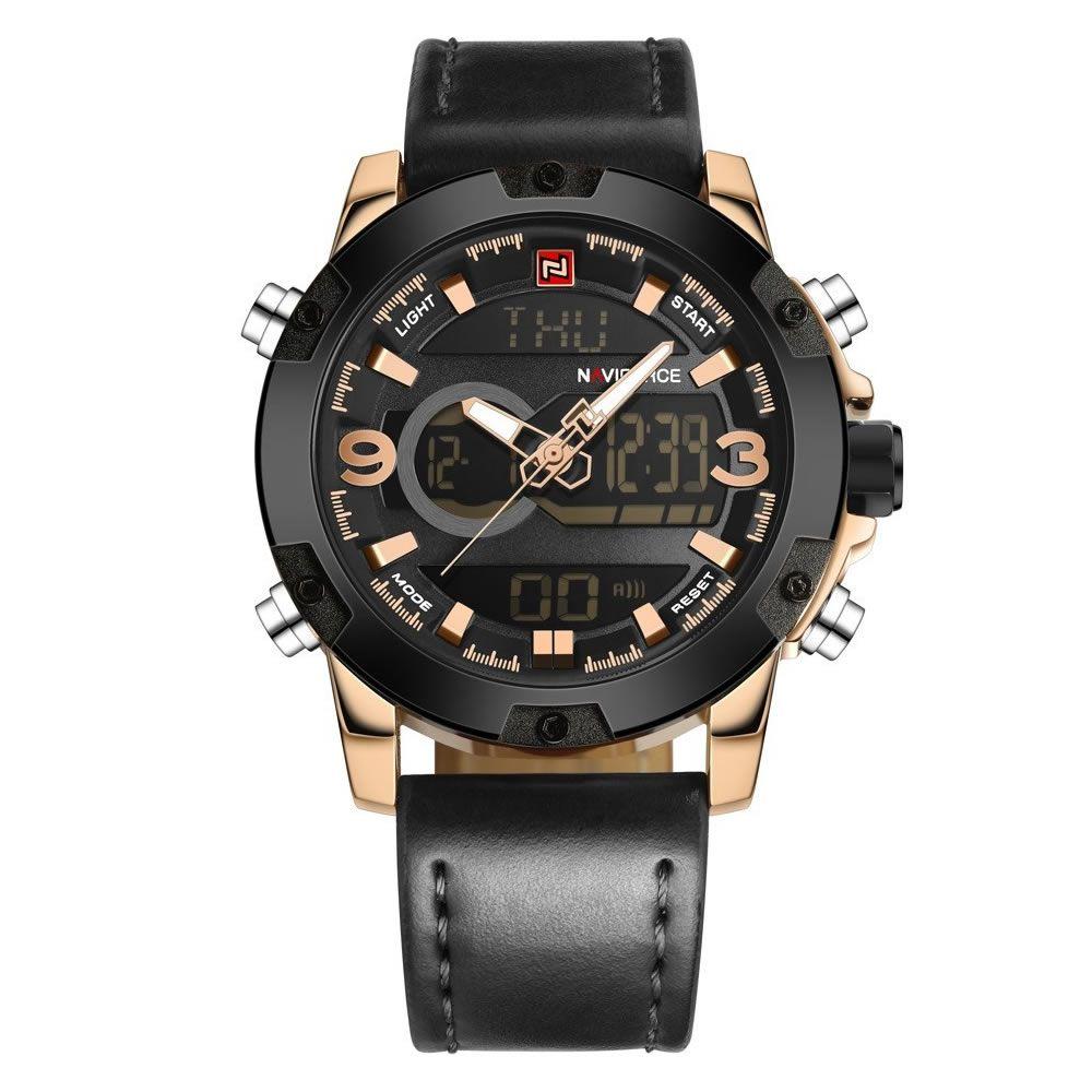 Relógio Masculino Naviforce 9097 Elegante - Preto Dourado