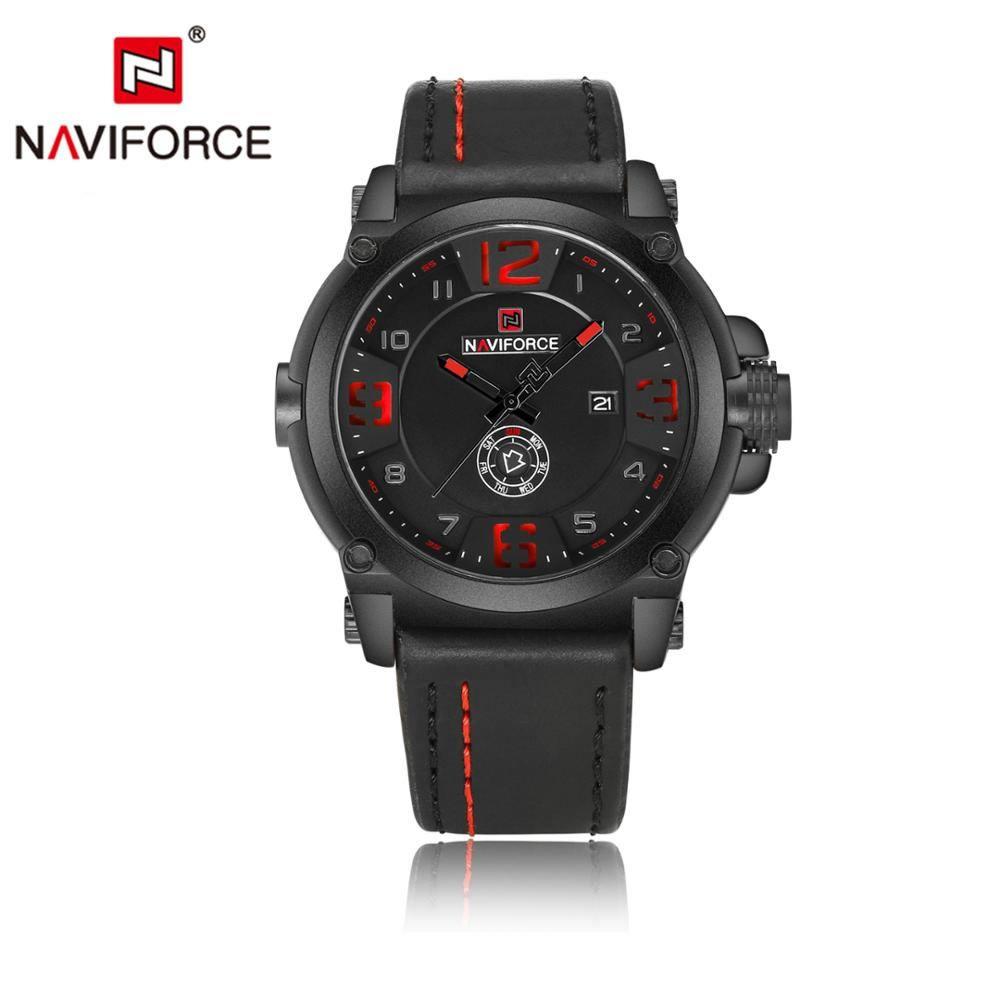 Relógio Masculino Naviforce NF9099 BRB Pulseira em Couro  - Preto e Vermelho