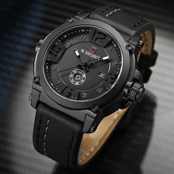 Relógio Masculino Naviforce 9099 BWB Esportivo Casual - Preto