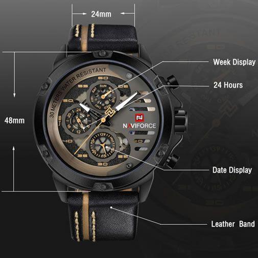 Relógio Masculino Naviforce 9110 - Preto Dourado