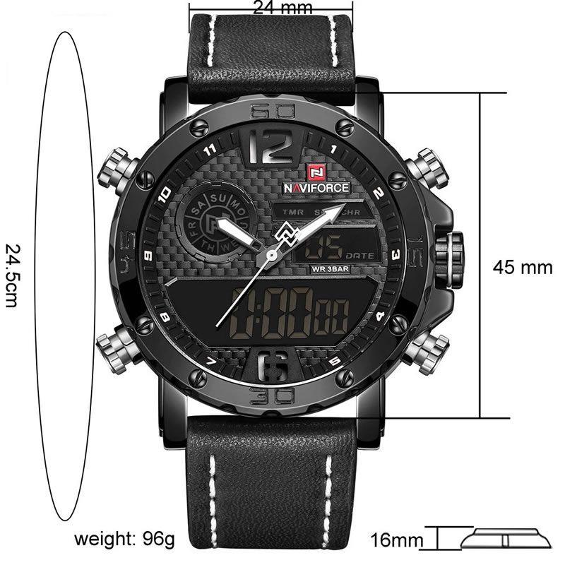Relógio Masculino Naviforce 9134 BRB Esportivo Elegante - Preto e Vermelho