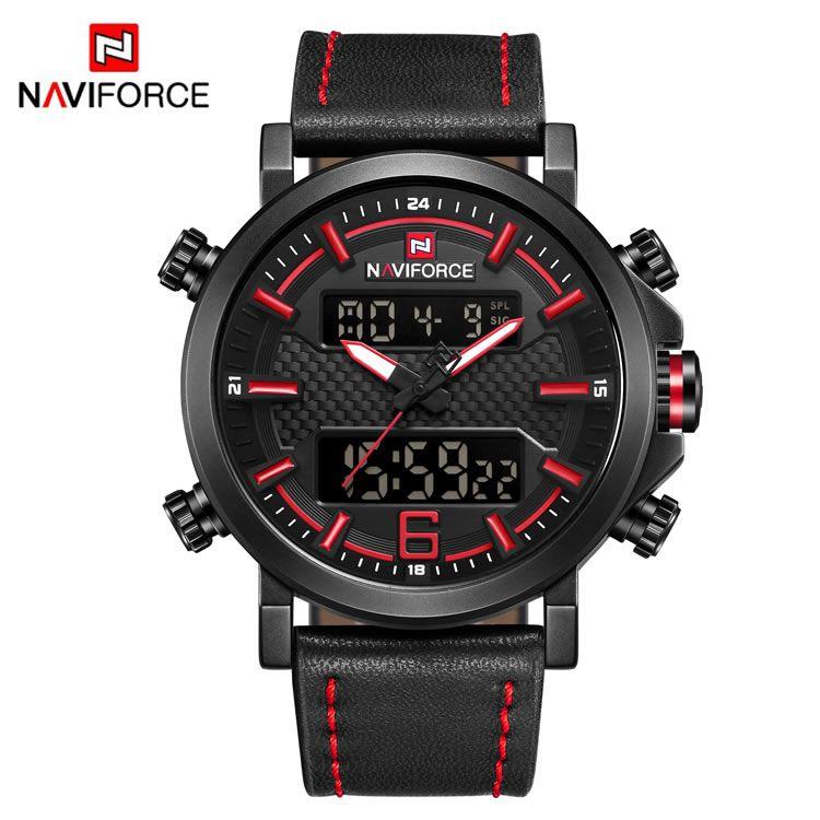 Relógio Masculino Naviforce 9135 BRB Esportivo Elegante - Preto e Vermelho