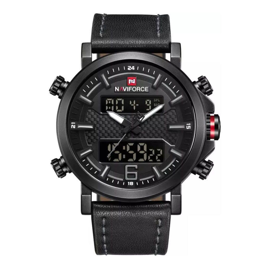 Relógio Masculino Naviforce 9135 BGY Esportivo Elegante - Preto