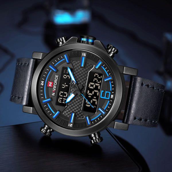 Relógio Masculino Naviforce Modelo NF9135 - Preto Azul