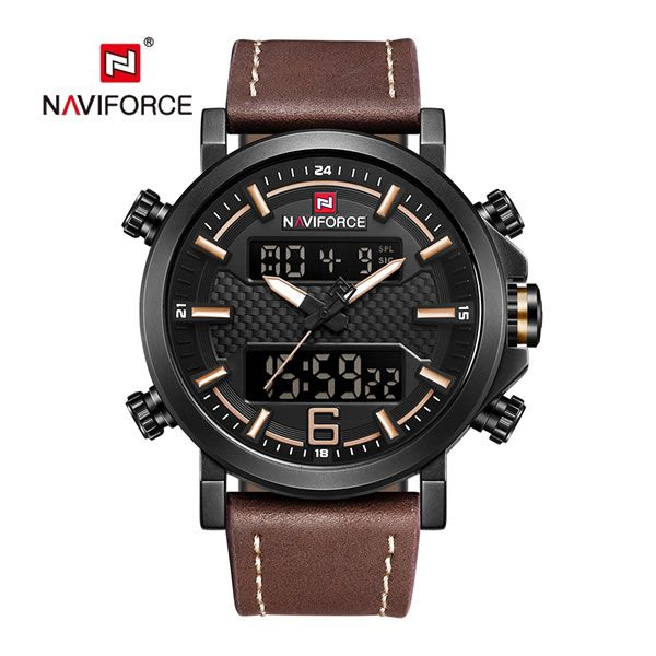 Relógio Masculino Naviforce 9135 Esportivo Elegante - Preto Marron