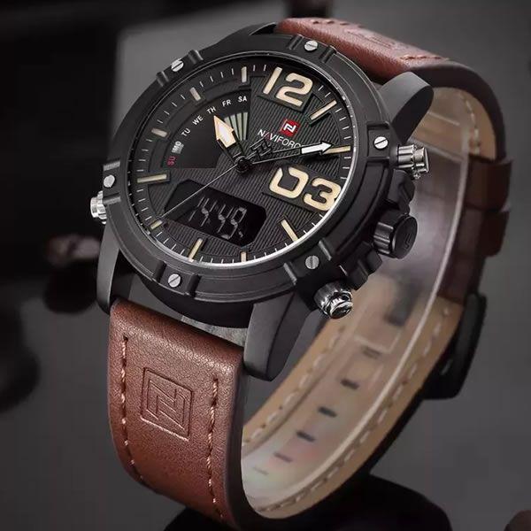 Relógio Masculino Naviforce 9095 BY Casual - Marron Preto